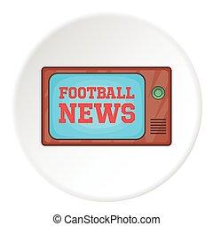 futebol, notícia, ligado, tv, ícone, caricatura, estilo