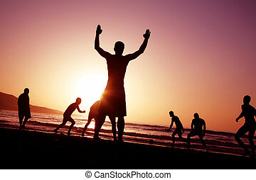 futebol, pôr do sol