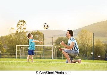 futebol, pai, tocando, filho