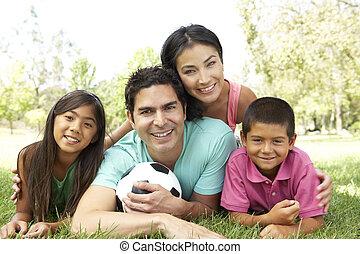 futebol, parque, família