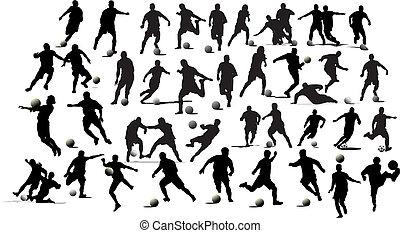 futebol, players., ilustração, vetorial, pretas, branca,...