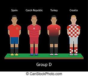 futebol, players., tcheco, futebol, república, croácia, teams., peru, espanha