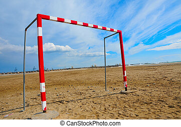 futebol, praia, meta