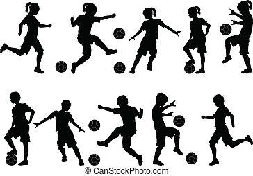 futebol, silhuetas, crianças, meninos, meninas