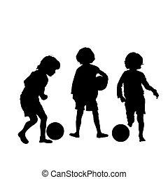 futebol, silhuetas, vetorial, crianças
