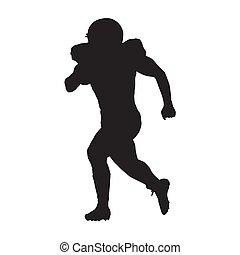 futebol, silueta, jogador, executando, vetorial, americano, homem