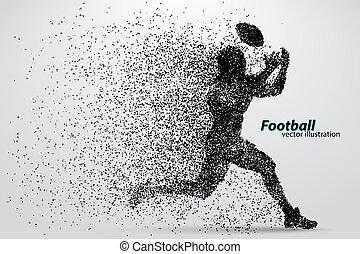 futebol, silueta, rugby., particle., jogador, footballer...