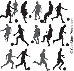futebol, silueta, vetorial