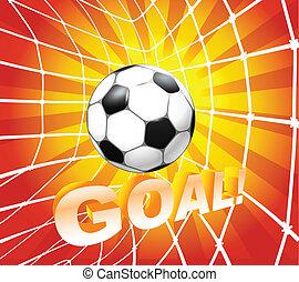 futebol, (soccer), bola, em, um, net., meta