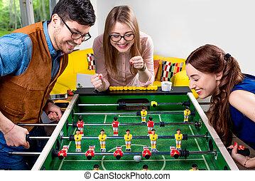 futebol tabela, amigos, tocando