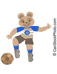 futebol, tocando, teddy-urso
