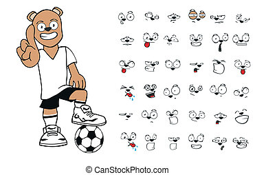 futebol, urso, cartoon8, pelúcia