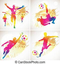 futebol, vencedor, silueta