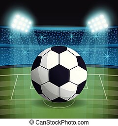 futebol, ventiladores, bola, estádio