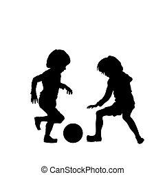 futebol, vetorial, crianças