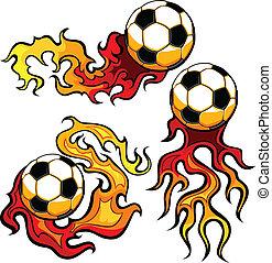 futebol, vetorial, desenho, flamejante, bola
