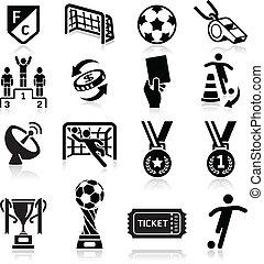futebol, vetorial, icons., ilustração