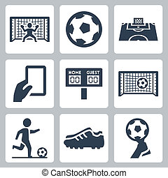 futebol, vetorial, jogo, ícones