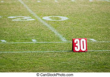 futebol, vinte, campo, 30, marcador, linha terreno