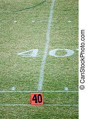 futebol, vinte, campo, 40, marcador, linha terreno