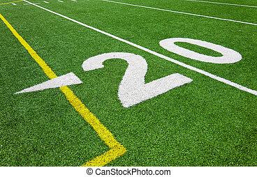 futebol, vinte, -, linha terreno