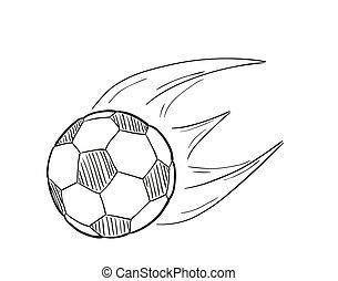 futebol, voando, esboço, bola, chamas