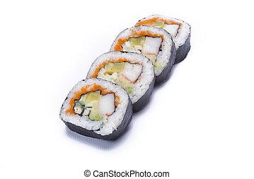 futo maki sushi roll isolated on white background