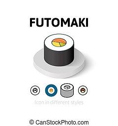 Futomaki icon in different style