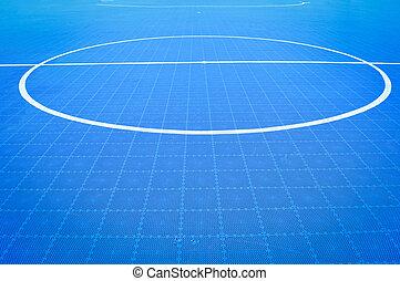 futsal, akker, vloer, van, blauwe , sportende, buiten, wit lijnen, cirkel, centrum