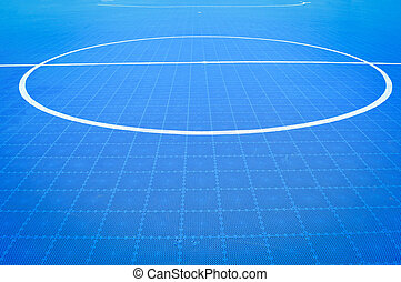 futsal field floor of blue sport outdoor white line Circle center