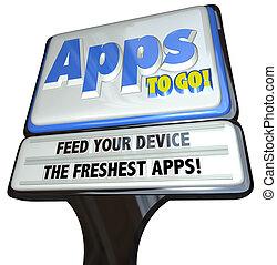 futtern, apps, -, zeichen, anwendungen, gehen, vorrichtung, ...