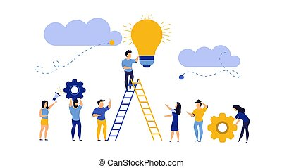 Future ahead with man, woman and light bulb vector concept illustration. Business ladder career job challenge. Journey beginning achievement change opportunity. Objective direction forward vision way
