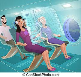 Future Airline Clients in Futuristic Plane Vector