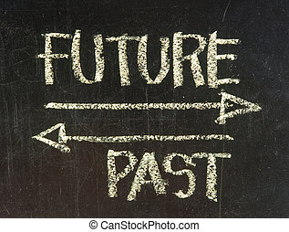 future and past concept - white chalk handwriting and drawing on blackboard
