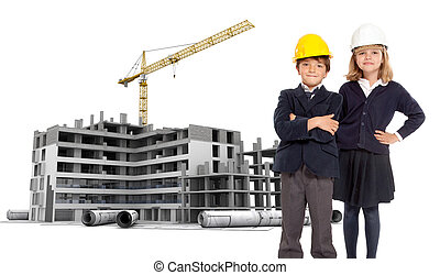 Future architects - Young kids in school uniform with safety...