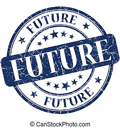 Future blue round grungy vintage rubber stamp