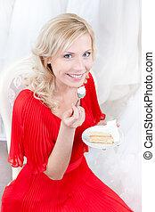 Future bride eats the wedding cake
