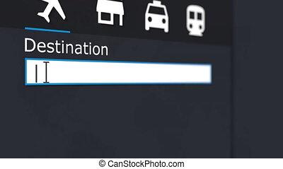 Future caption in destination search