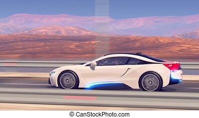 Future car going on the road 4k animation
