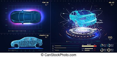 Future car in abstract style on blue background. Futuristic vector HUD GUI UI interface screen design. Automotive technology concept. Hologram of the car, scanning, auto service