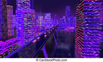 Future city animation neon background buildings lights - ...