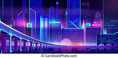 Future city at night cartoon vector background