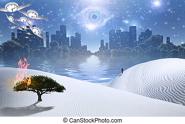 Future City - Burning tree on a sand dune. Figure of man in ...