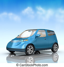 Future city car concept on blue background. My own design