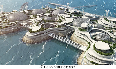Future city concept, high tech island in the ocean. High quality 4k footage