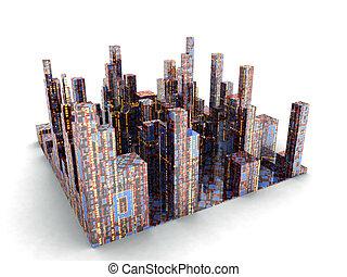 Future City - Futuristic City. Isolated render. Cartoon...