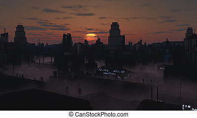 Future City in Misty Sunset - Science fiction illustration ...