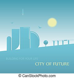 Future city landscape illustration. Cityscape with abstract buildings and blue sky. Cartoon vector background.