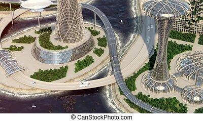Future City. Office buildings. Urban traffic