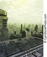 Future City Skyline in Green Haze - Futuristic science...